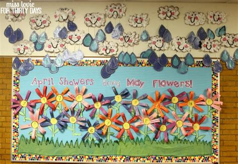 april showers bring may flowers bulletin board ideas craft cloud