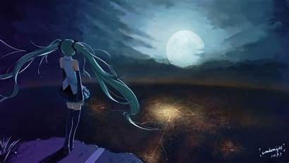 Anime Moon Miku Hatsune Vocaloid Wallpapers Looking