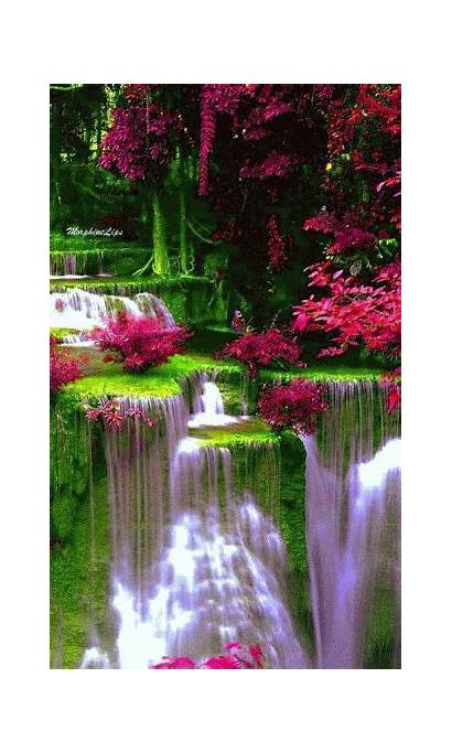 Nature Waterfall Cascada Animation Simply Waterfalls Colorful
