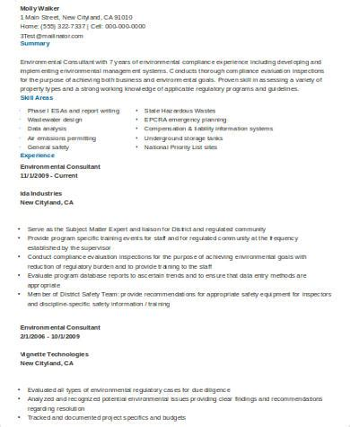 Environmental Consulting Resumes by Sle Consulting Resume 8 Exles In Word Pdf