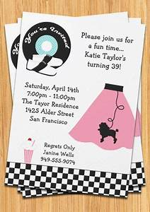 Surprise Birthday Invite Templates Retro 50 39 S Poodle Skirt Party Invitation Poodle Skirts