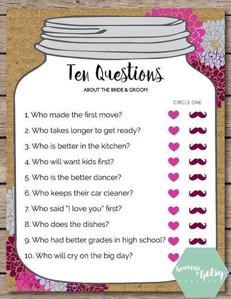 mason jar ten questions bridal shower wedding game