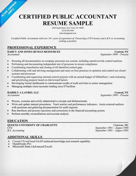 Cpa Resume by Sle Cpa Resume Template