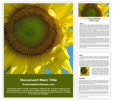 sunflower word template freetemplatesthemecom