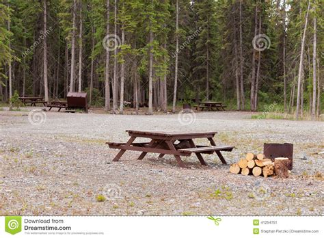 Camp Ground Campsites Camping Table Firepits Stock Photo