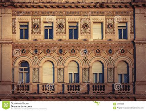 Vintage Historical Building Facade With Antique