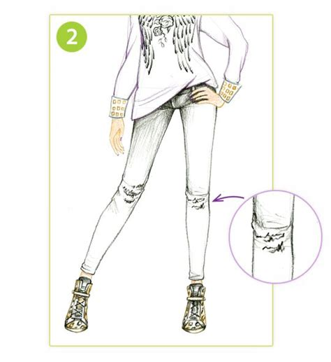 draw stylish skinny jeans style   drawing