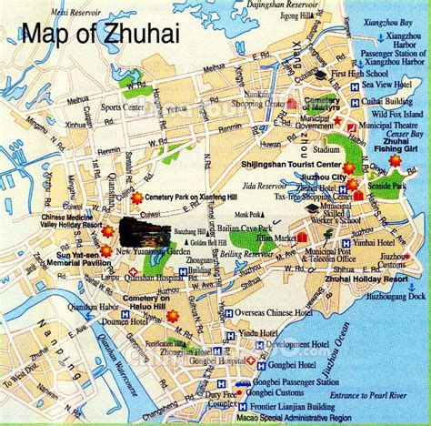 Zhuhai City Map, China: Tourist Attractions, Metro ...