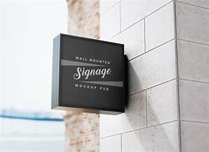 Free, Square, Wall, Mounted, Signage, Mockup, Psd
