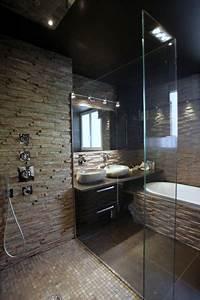 douche avec mur en pierre naturelle deco astuces With salle de bain design avec vasque en pierre blanche