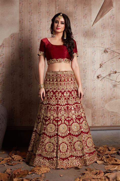 indian dress maroon color bridal lehenga
