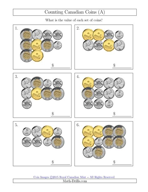 counting canadian coins a