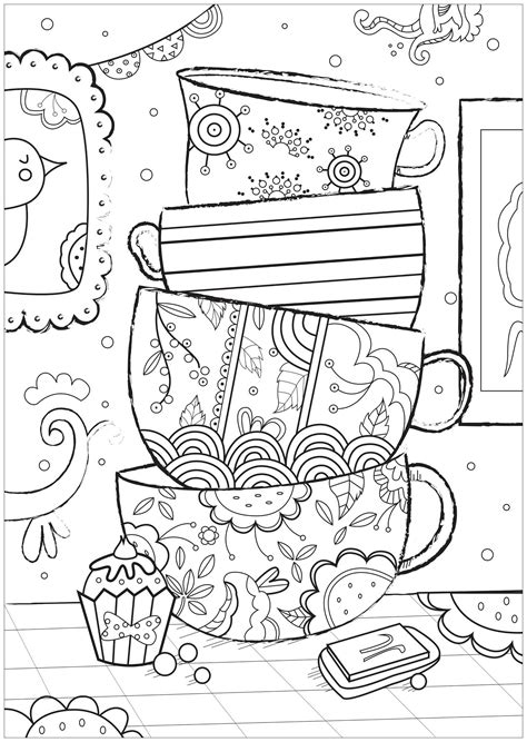 cups anti stress adult coloring pages