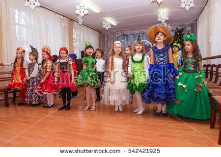 Santa Claus With Maiden In Bright Clothes Stock Odessa December 22 2016 Childrens Stock Photo