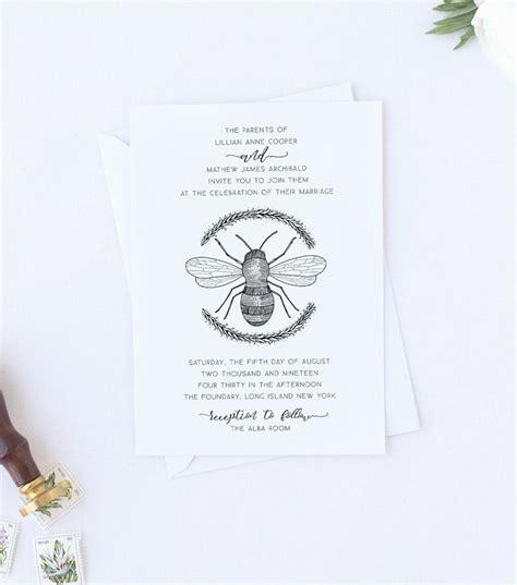 Honey Bee Wedding Invitation original vintage style art