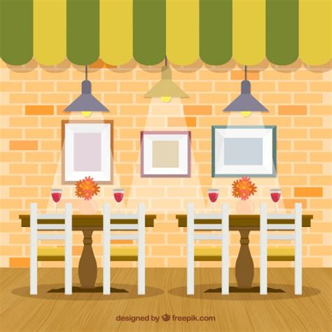 furniture kitchen table set interior restaurant in flat style vector free