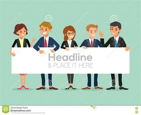 Cartoon Billboard happy business team   banner isolated stock vector 1300 x 1065 · jpeg