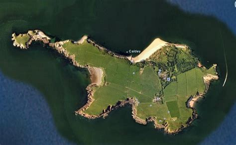 Caldey Island From The Air Picturesque Pembrokeshire
