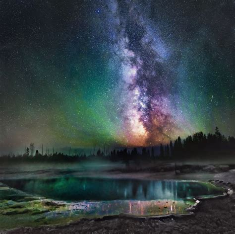 These Night Skies Over Yellowstone Are Hauntingly Beautiful