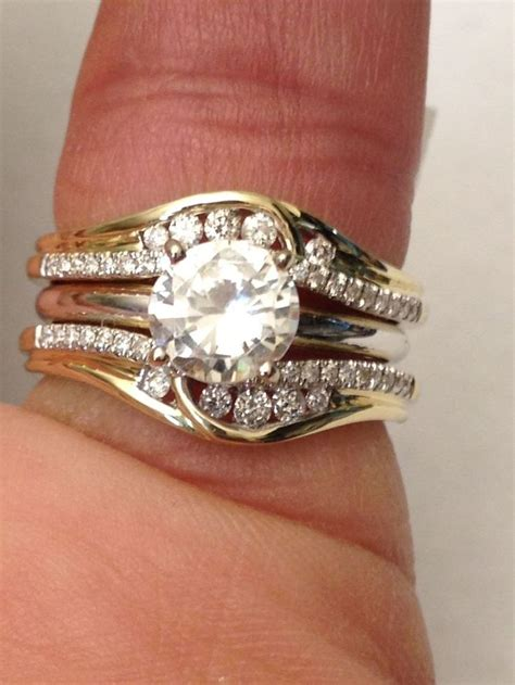ring wraps wedding bands 14k yellow gold solitaire enhancer round diamonds ring