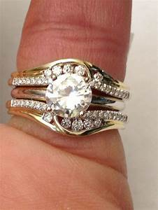 14k yellow gold solitaire enhancer round diamonds ring With wedding ring guard bands