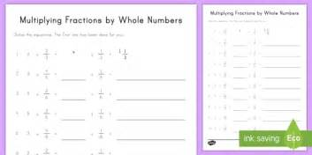 multiplying fraction multiples by whole numbers worksheet
