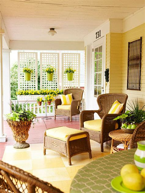 cozy front porch  pops  yellow home design  interior