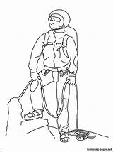 Coloring Mountaineer Pages Printable Climber Profession Alpinist Occupation Fans sketch template