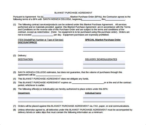blanket purchase agreements samples examples