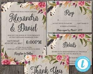 printable boho wedding invitation template set rsvp With free printable boho wedding invitations
