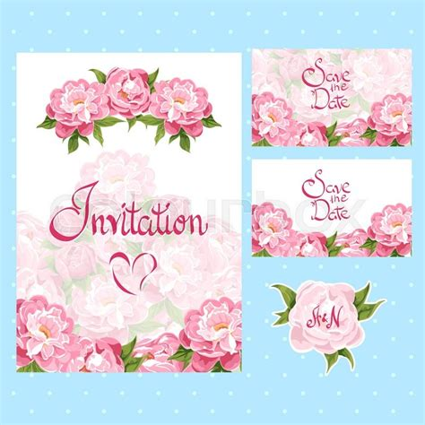 Set of invitation cards with floral elements Stock