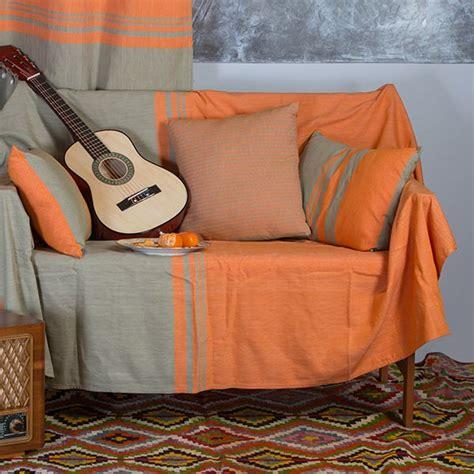 jete canape jeté de canapé en coton rectangulaire orange et vert