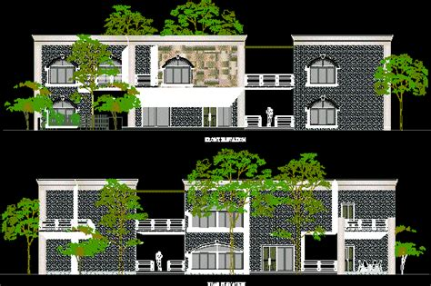 country house contemporary style front view dwg