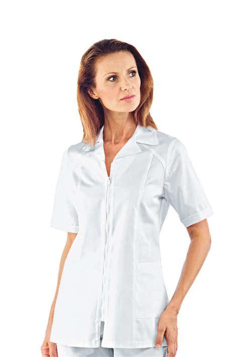 blouse de cuisine femme pas cher tunique m 233 dicale blanche manches courtes barcellona 100 coton