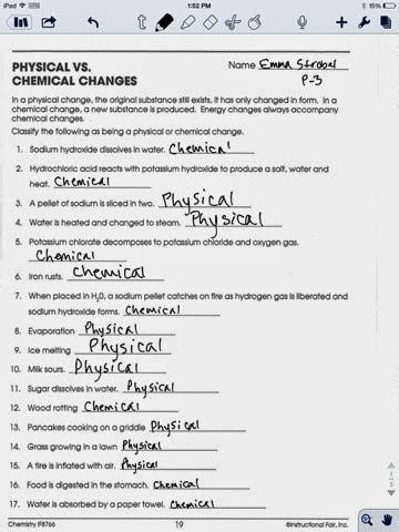 chemistry assignments physical v chemical change worksheet