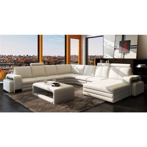 canap 201 d angle panoramique cuir blanc 10 places ha achat vente canap 233 sofa divan cdiscount