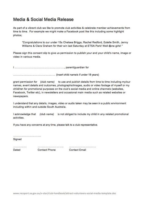 social media photo release form template social media release form 6 template newest visualize attract volunteers frazierstatue