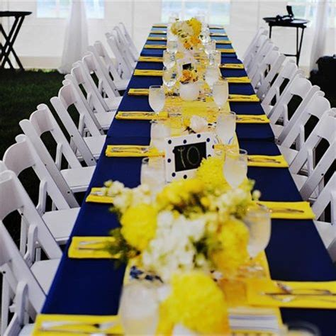 yellow and navy blue tablecloth estate table decor shared on the knot unique