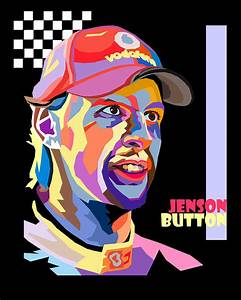 Jenson Button Pop Art Style Digital Art by Jim Bryson