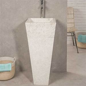 vasque sur pied en marbre guizeh carree creme l 40 cm With salle de bain design avec wanda collection vasque