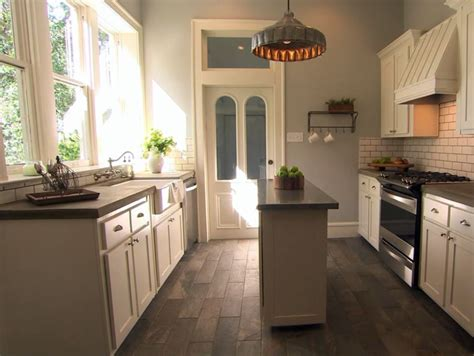 concrete countertops tile wood floors  fixer upper