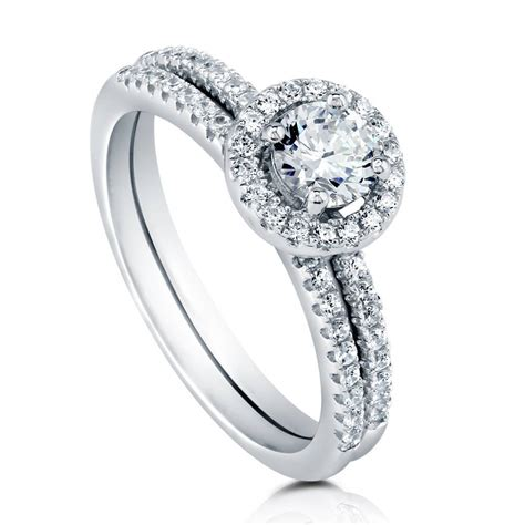 silver halo promise engagement ring set made with