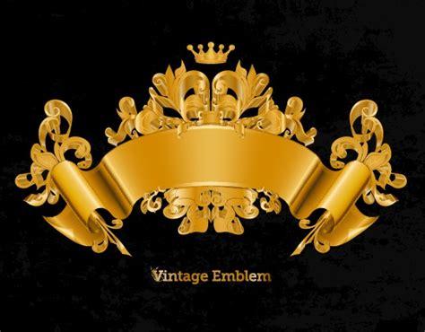 golden emblem  frames decorative elements vector