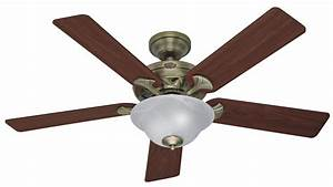 Hunter the brookline ceiling fan in antique brass