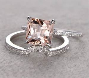 150 carat peach pink morganite princess cut morganite for Princess cut pink diamond wedding rings