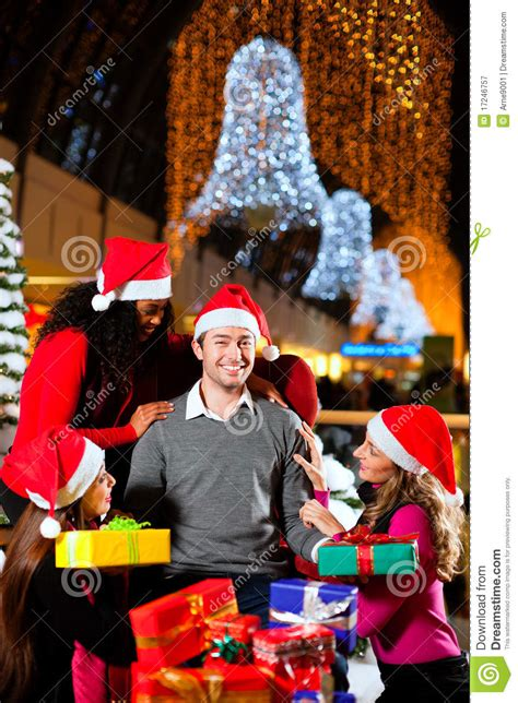 modern santa claus  shopping mall royalty  stock