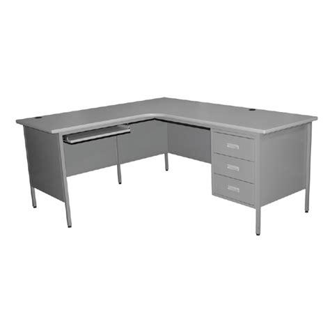 metal table l shades l shaped single pedestal steel desk galt littlepage