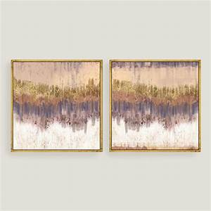 Golden field abstract canvas wall art gold leaf set of