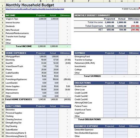 household budget worksheet  excel