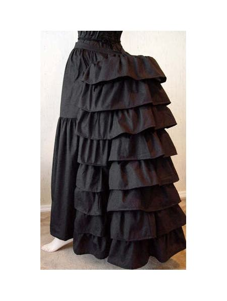 blackwhite cotton victorian bustle skirt devilnightcouk
